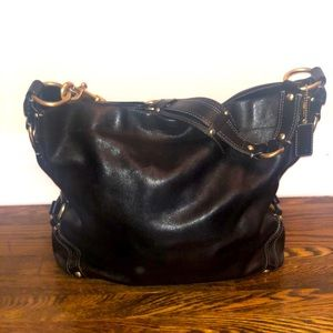 COACH Large Leather Carly Bag Black 10616